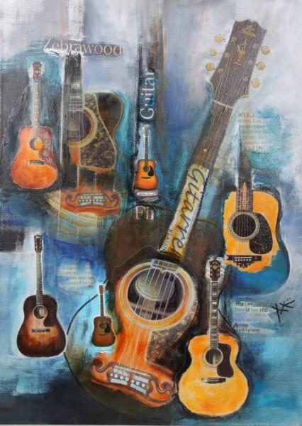 Gitarrencollage Zebrawood Guitars M. Küster